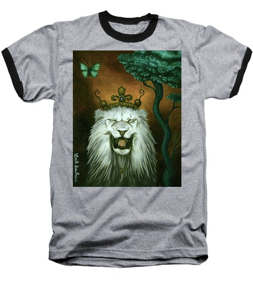 Baseball T-Shirt featuring the painting As The Lion Laughs by Leah Saulnier The Painting Maniac