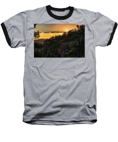 Baseball T-Shirt featuring the photograph As The Sun Sets On The Rim  by Saija Lehtonen