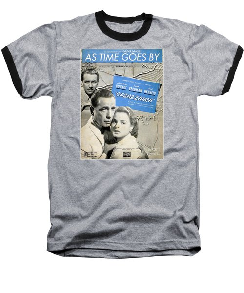 As Time Goes By Sheet Music Baseball T-Shirt by Barbie Corbett-Newmin