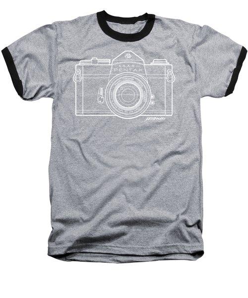 Asahi Pentax 35mm Analog Slr Camera Line Art Graphic White Outline Baseball T-Shirt