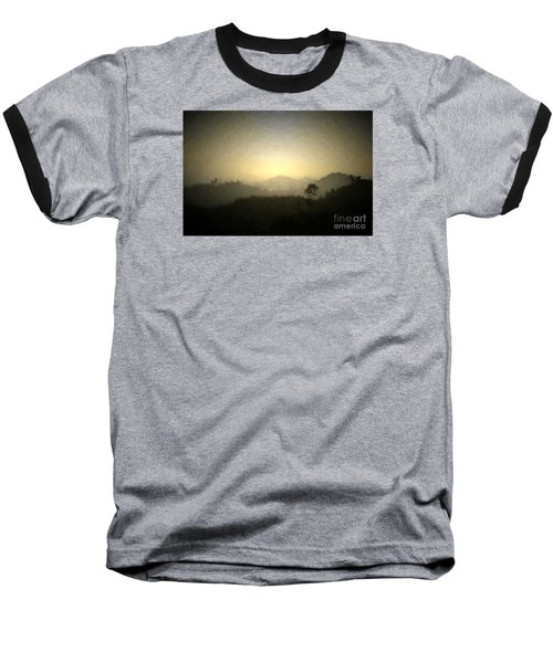 Ascend The Hill Of The Lord - Digital Paint Effect Baseball T-Shirt by Sharon Soberon