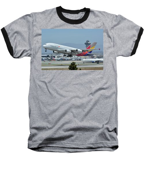 Baseball T-Shirt featuring the photograph Asiana Airbus A380-800 Hl7626 Los Angeles International Airport May 3 2016 by Brian Lockett