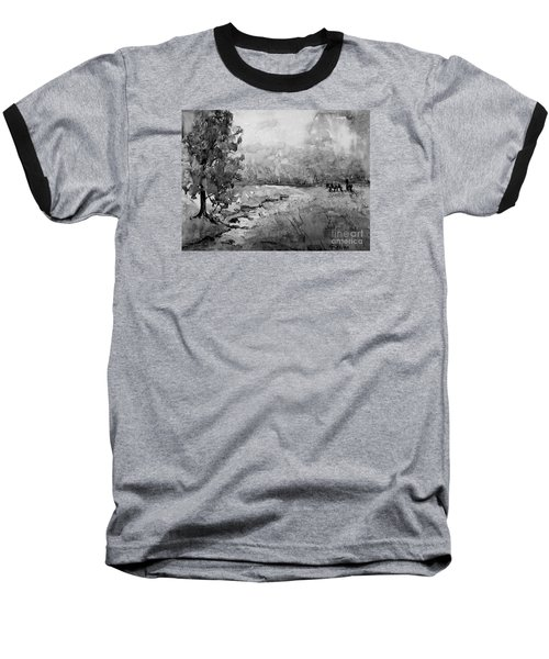 Baseball T-Shirt featuring the painting Aska Farm Horses In Bw by Gretchen Allen