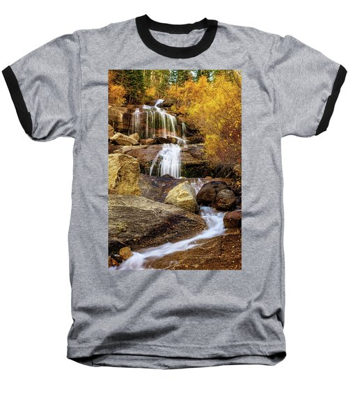 Aspen-lined Waterfalls Baseball T-Shirt