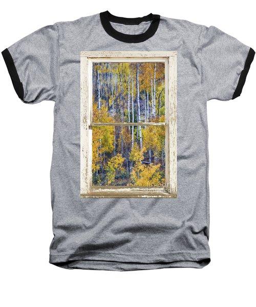 Aspen Tree Magic Cottonwood Pass White Farm House Window Art Baseball T-Shirt
