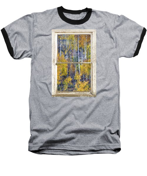 Aspen Tree Magic Cottonwood Pass White Farm House Window Art Baseball T-Shirt