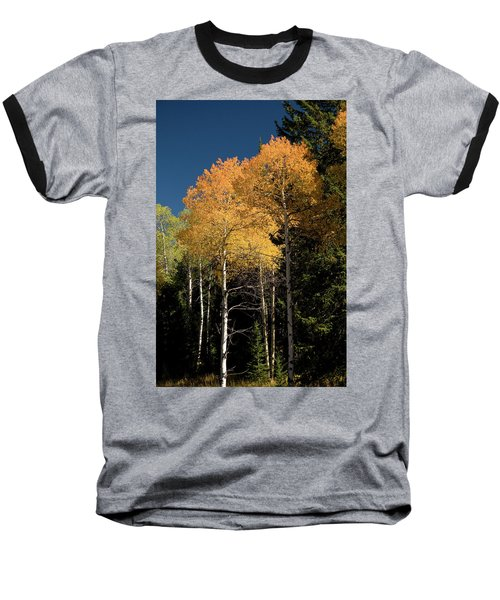 Baseball T-Shirt featuring the photograph Aspens And Sky by Steve Stuller