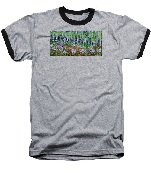 Aspens And Wildflowers Baseball T-Shirt by Mike Caitham