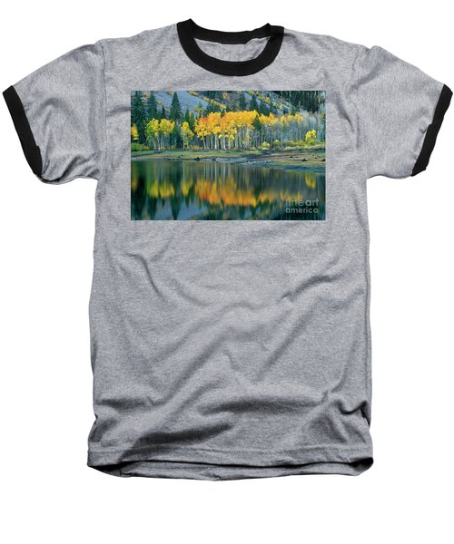 Aspens In Fall Color Along Lundy Lake Eastern Sierras California Baseball T-Shirt by Dave Welling