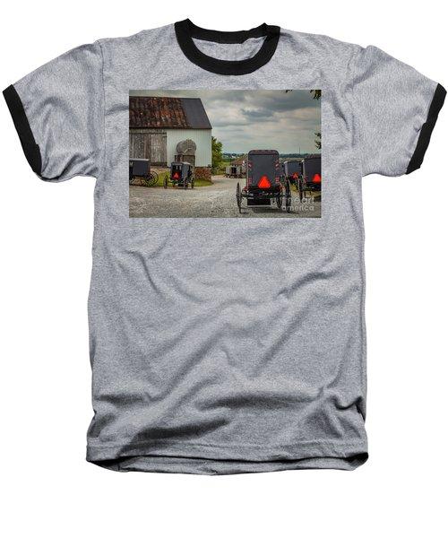 Assorted Amish Buggies At Barn Baseball T-Shirt