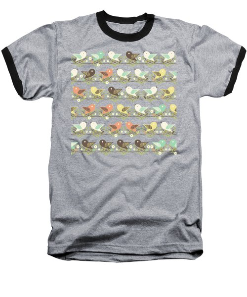 Assorted Birds Pattern Baseball T-Shirt