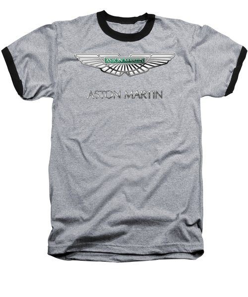 Aston Martin 3 D Badge On Black  Baseball T-Shirt