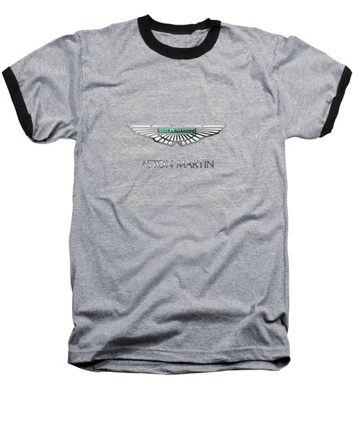 Aston Martin 3 D Badge Over Aston Martin D B 9 Blueprint Baseball T-Shirt