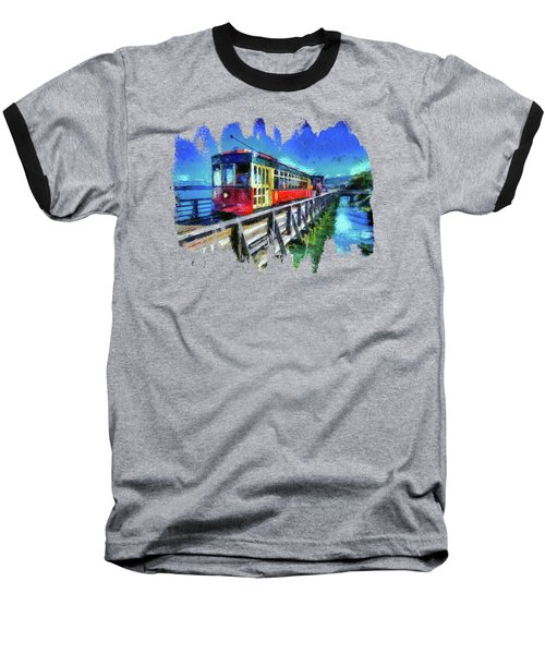 Astoria Riverfront Trolley Baseball T-Shirt by Thom Zehrfeld