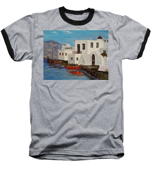 Baseball T-Shirt featuring the painting At Home In Greece by Marilyn  McNish