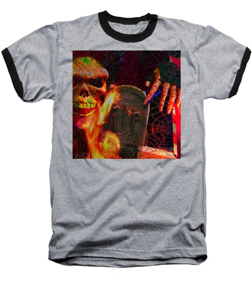 At Night In The Graveyard Baseball T-Shirt