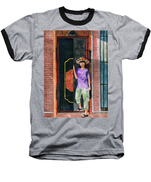 Baseball T-Shirt featuring the painting At Puri Kelapa by Melly Terpening
