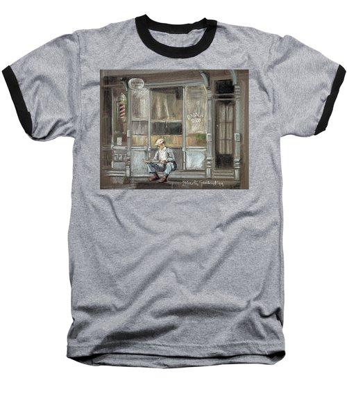 At The Barber Shop Baseball T-Shirt by Marty Garland