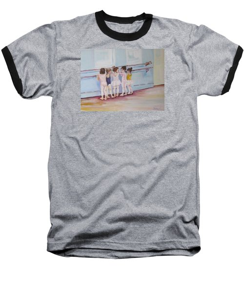 At The Barre Baseball T-Shirt by Julie Todd-Cundiff