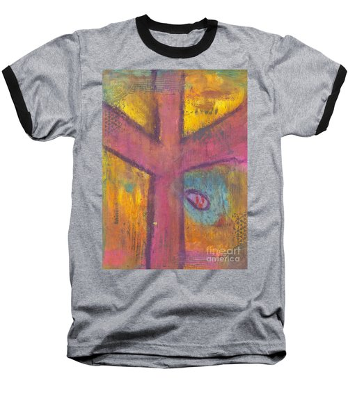 Baseball T-Shirt featuring the mixed media At The Cross by Angela L Walker