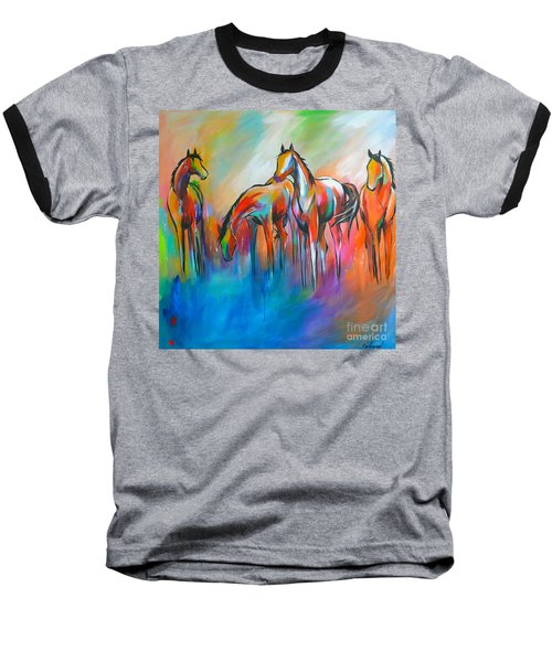 Baseball T-Shirt featuring the painting At The Pond by Cher Devereaux