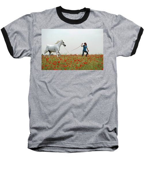 Baseball T-Shirt featuring the photograph At The Poppies' Field... 2 by Dubi Roman