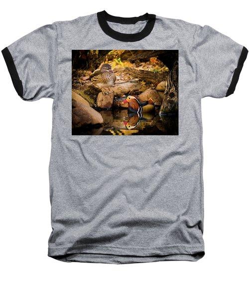 At The Waters Edge - Mandarin Ducks Baseball T-Shirt