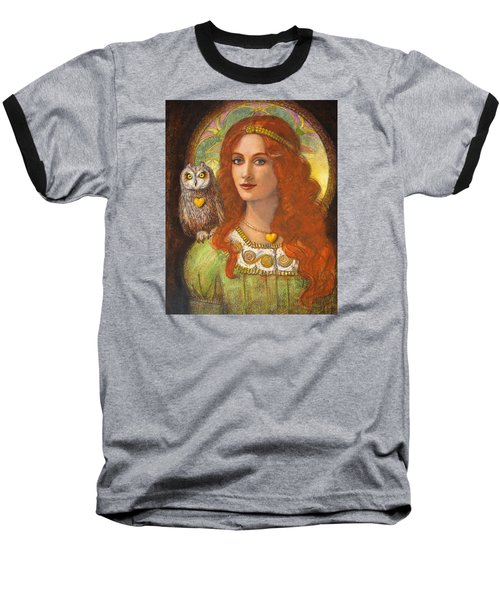 Baseball T-Shirt featuring the painting Athena And Her Owl- Wise Ones by Sue Halstenberg