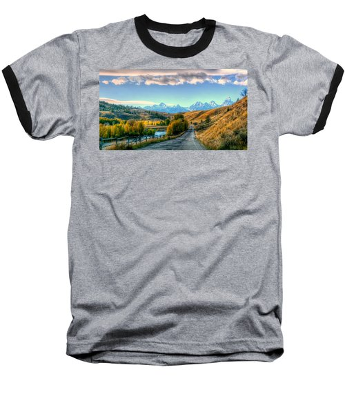 Atherton View Of Tetons Baseball T-Shirt by Charlotte Schafer