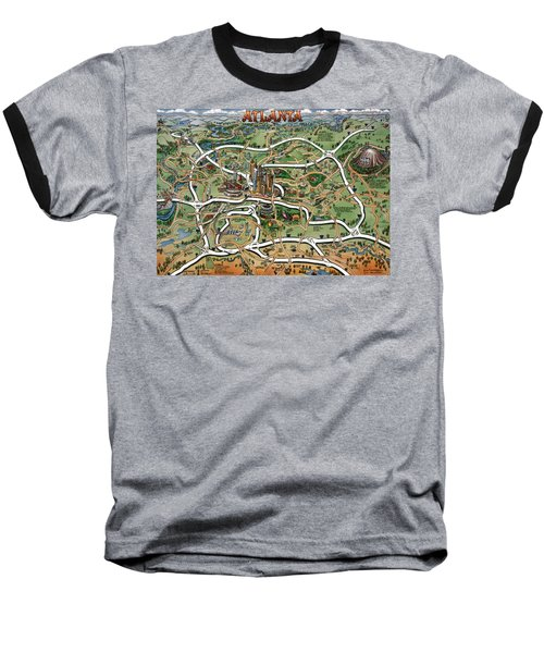 Baseball T-Shirt featuring the painting Atlanta Cartoon Map by Kevin Middleton