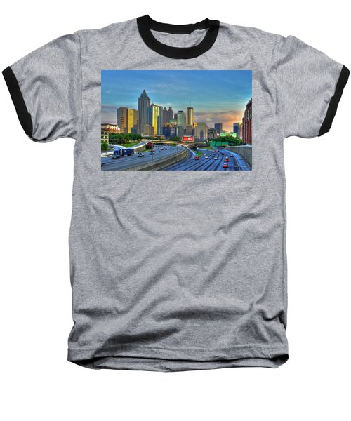 Atlanta Coca-cola Sunset Reflections Art Baseball T-Shirt