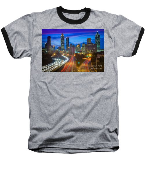 Atlanta Downtown By Night Baseball T-Shirt