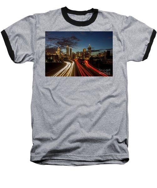 Baseball T-Shirt featuring the photograph Atlanta Downtown Infusion Atlanta Sunset Cityscapes Art by Reid Callaway