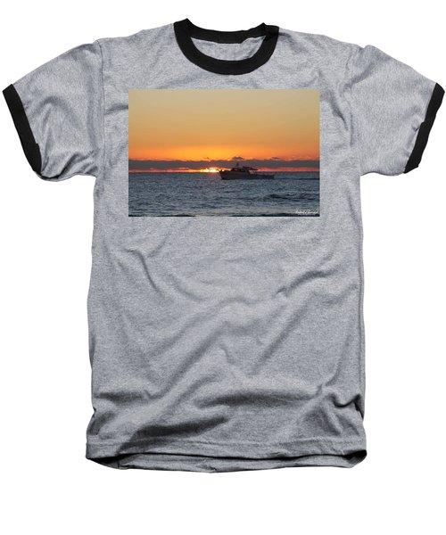 Atlantic Ocean Fishing At Sunrise Baseball T-Shirt