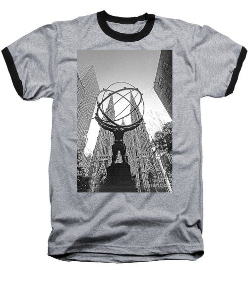 Atlas Rockefeller Center Nyc Baseball T-Shirt