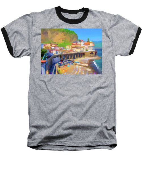 Atrani Italy 01 Baseball T-Shirt by Wally Hampton