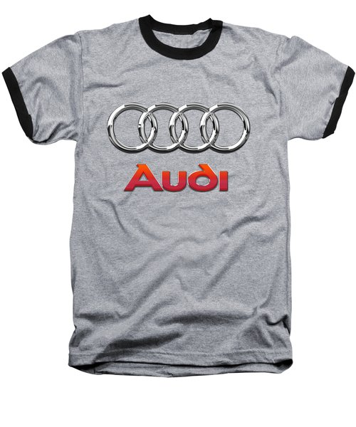 Audi 3 D Badge On Black Baseball T-Shirt