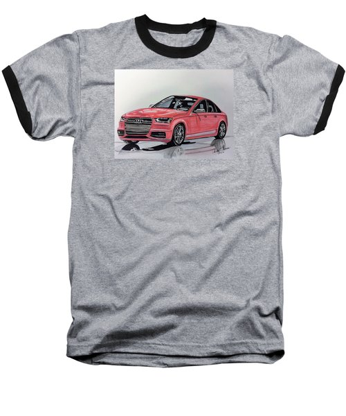 Baseball T-Shirt featuring the mixed media Audi S4 by Kevin F Heuman