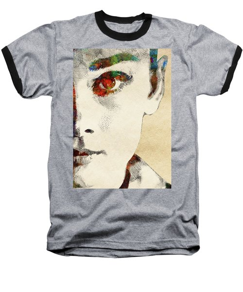 Audrey Half Face Portrait Baseball T-Shirt by Mihaela Pater