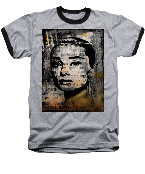 Baseball T-Shirt featuring the mixed media Audrey Hepburn #2 by Kim Gauge