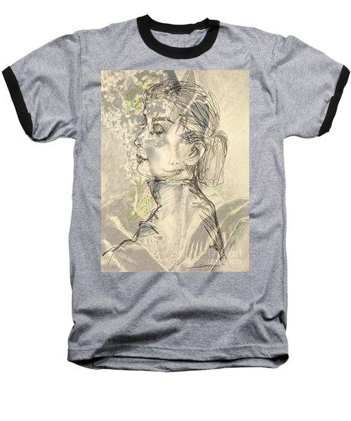 Audrey Two -- Portrait Of Audrey Hepburn Baseball T-Shirt