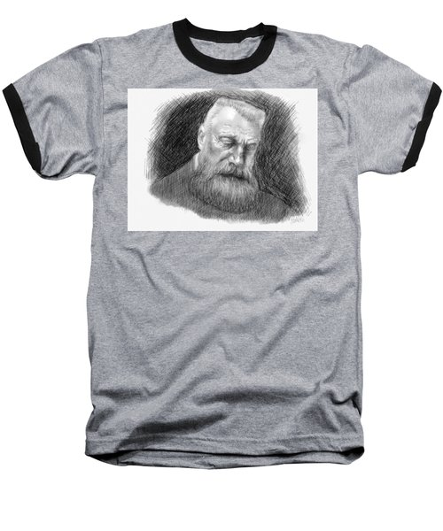 Baseball T-Shirt featuring the drawing Auguste Rodin by Antonio Romero
