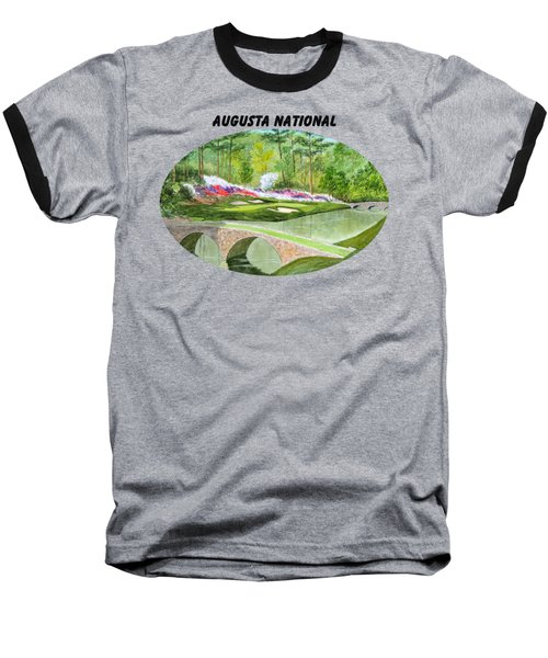 Augusta National Golf Course With Banner Baseball T-Shirt by Bill Holkham