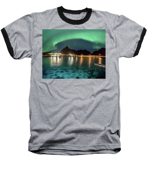 Aurora Above Turquoise Waters Baseball T-Shirt by Alex Conu