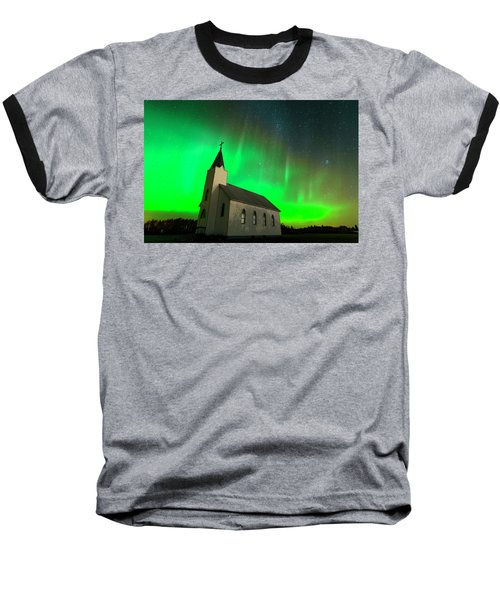 Aurora And Country Church Baseball T-Shirt by Dan Jurak