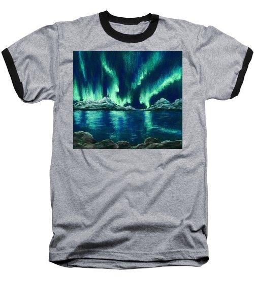 Baseball T-Shirt featuring the painting Aurora Borealis by Anastasiya Malakhova
