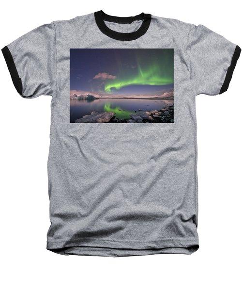 Baseball T-Shirt featuring the photograph Aurora Borealis And Reflection #2 by Wanda Krack