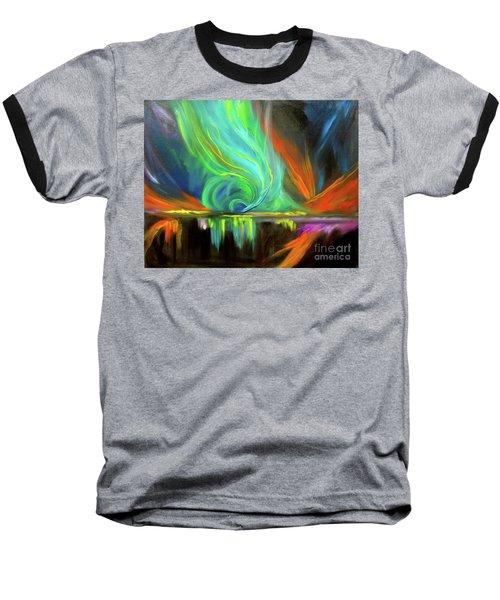 Aurora Borealis Baseball T-Shirt by Jenny Lee