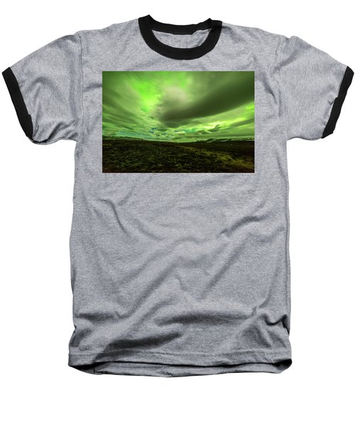 Aurora Borealis Over A Frozen Lake Baseball T-Shirt