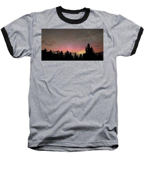 Aurora Borealis Over Mammoth Hot Springs In Yellowstone Np Baseball T-Shirt